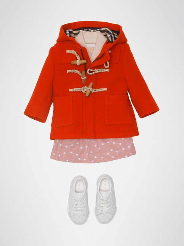 Boiled Wool Duffle Coat in Orange Red - Children | Burberry - cell image 2