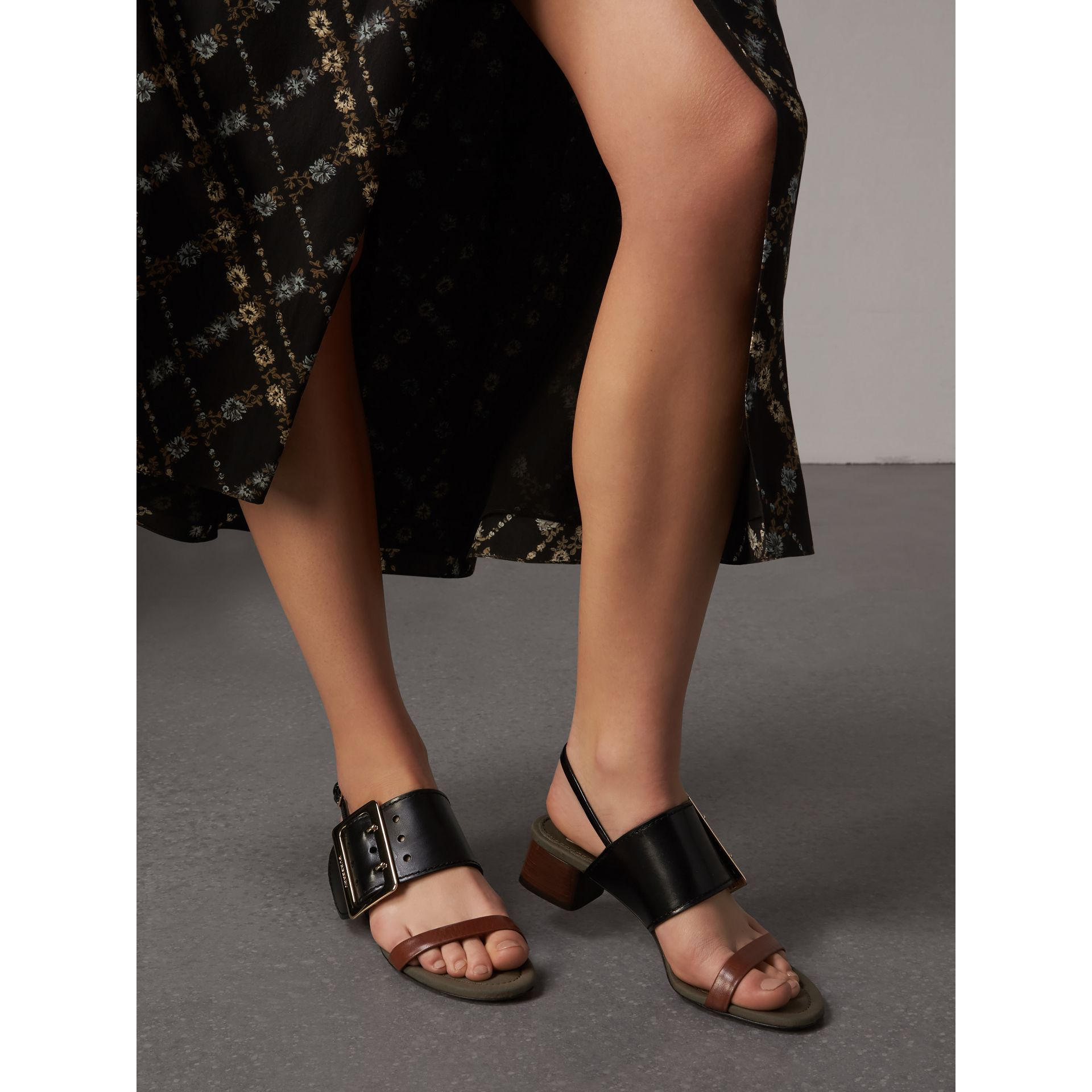 Buckle Detail Leather Mid-heel Sandals in Black - Women | Burberry United Kingdom - gallery image 3