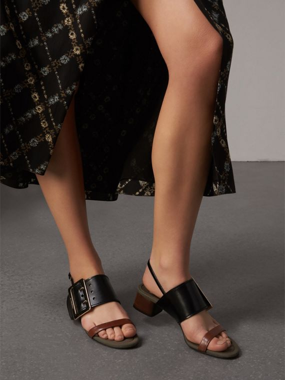 Buckle Detail Leather Mid-heel Sandals in Black - Women | Burberry United Kingdom - cell image 2