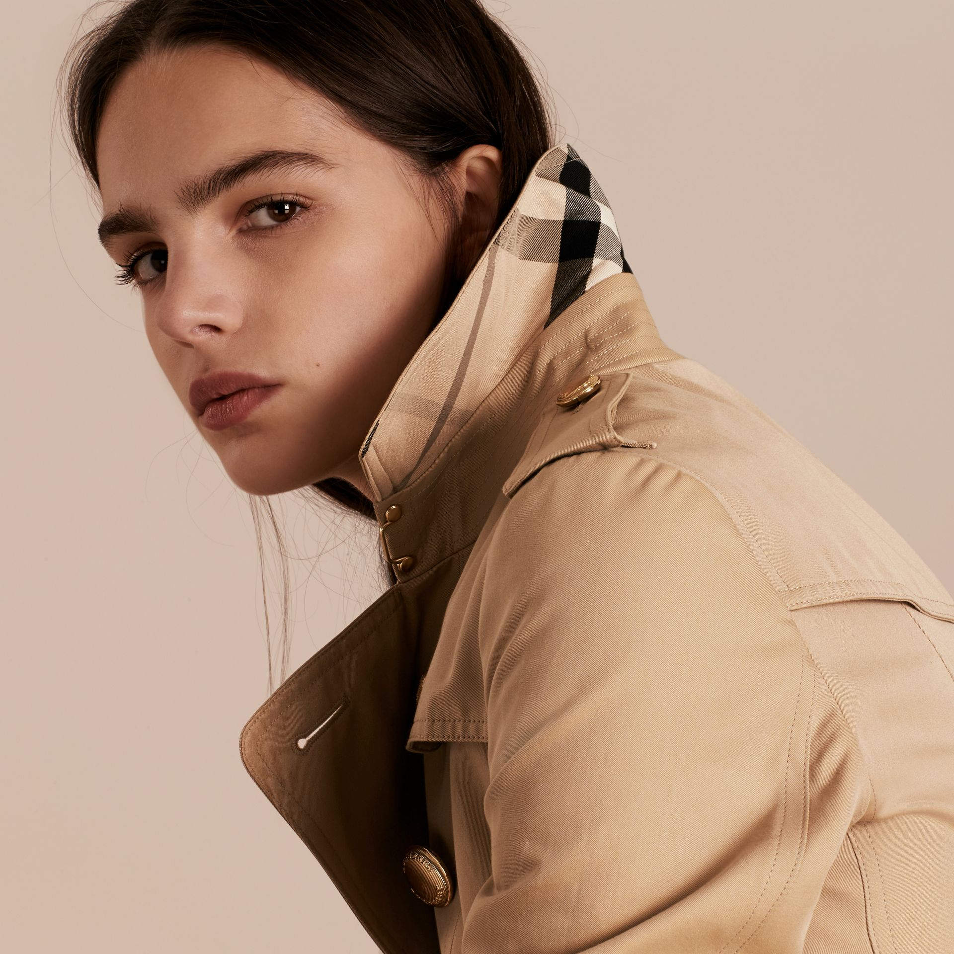 Honey Leather Trim Trench Coat with Detachable Shearling Collar - gallery image 5