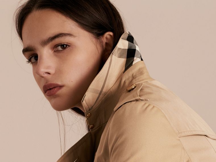 Honey Leather Trim Trench Coat with Detachable Shearling Collar - cell image 4