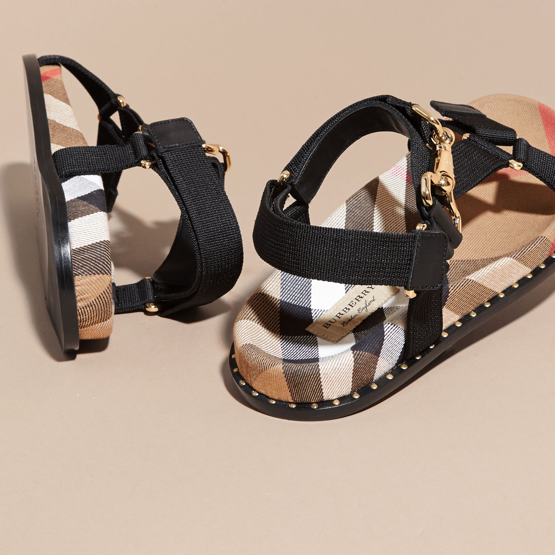 House Check Strappy Sandals with Hardware Detail in Black - Women | Burberry - gallery image 5