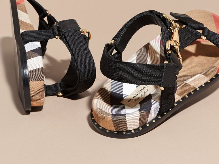 House Check Strappy Sandals with Hardware Detail in Black - Women | Burberry - cell image 4