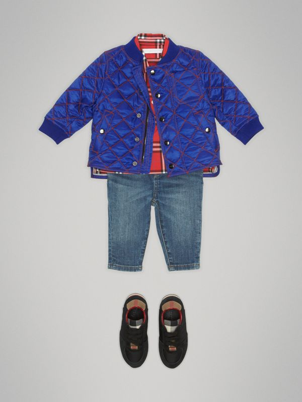 Topstitched Quilted Jacket in Brilliant Blue - Children | Burberry United Kingdom - cell image 2