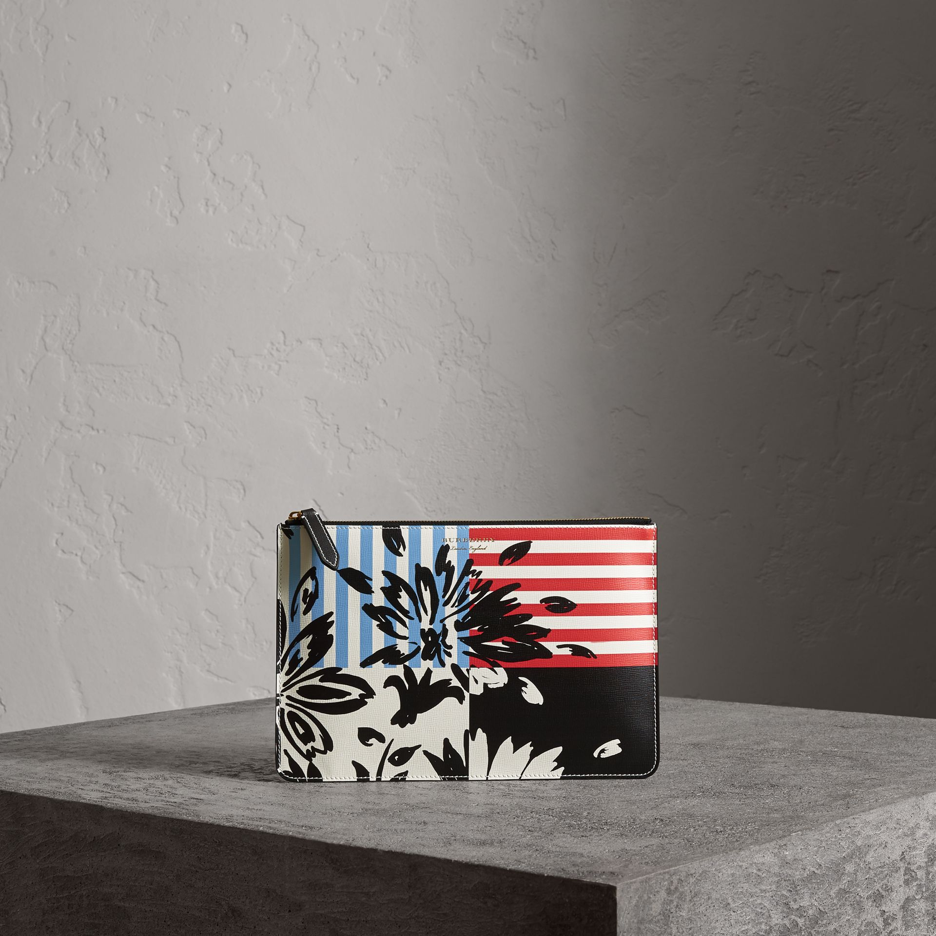 Large Floral Stripe Print Leather Zip Pouch in Patchwork | Burberry - gallery image 0