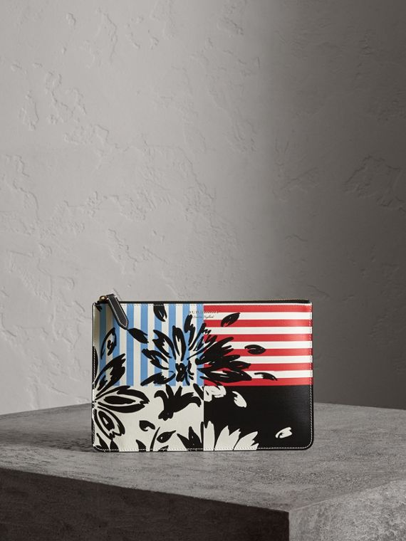 Large Floral Stripe Print Leather Zip Pouch in Patchwork