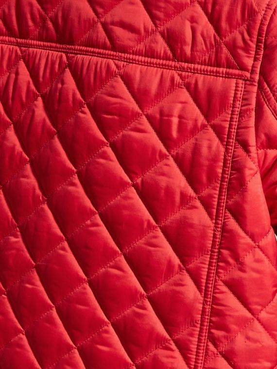 Lightweight Quilted Jacket with Detachable Hood Bright Cherry Red - cell image 3
