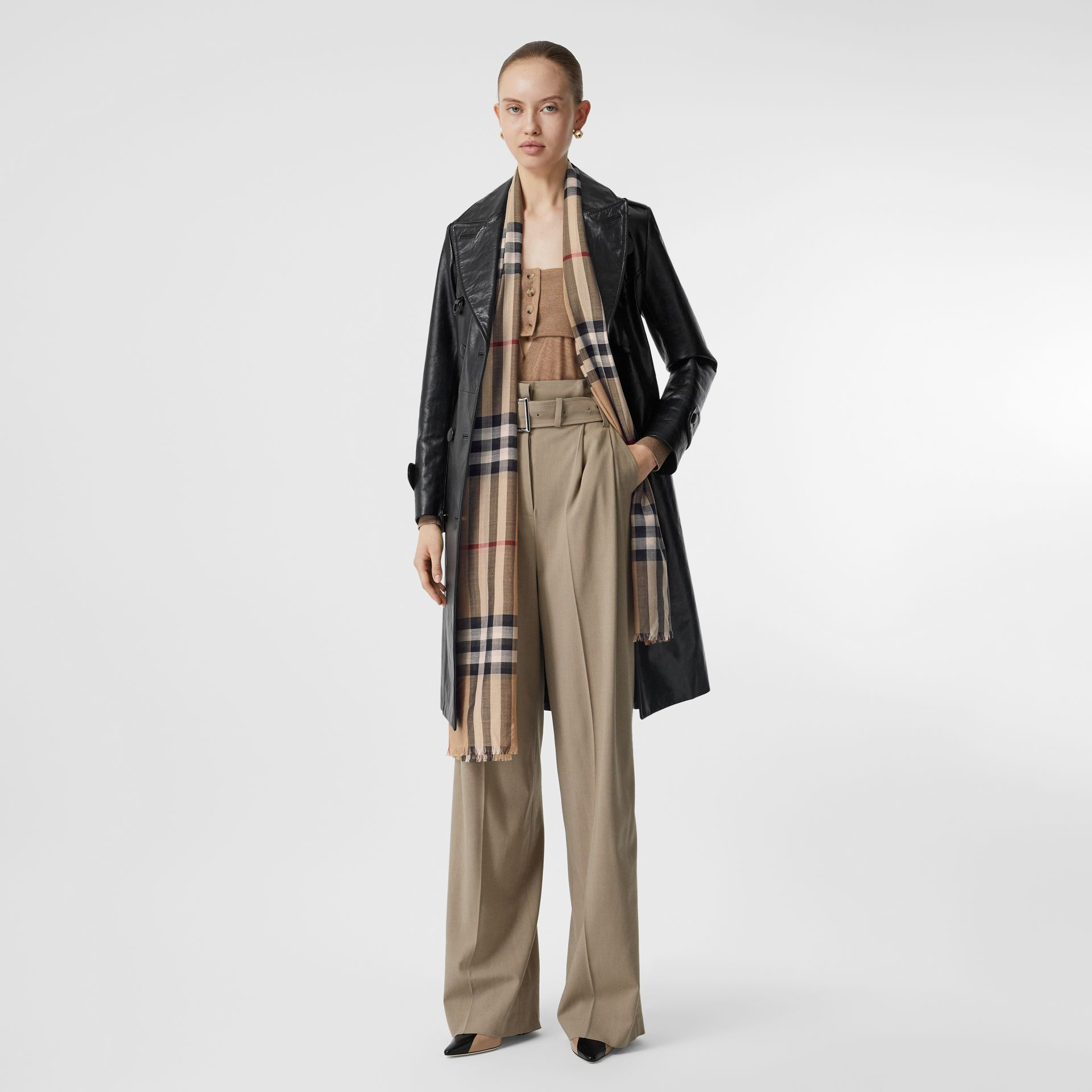 Lightweight Check Wool and Silk Scarf in Camel | Burberry - gallery image 6