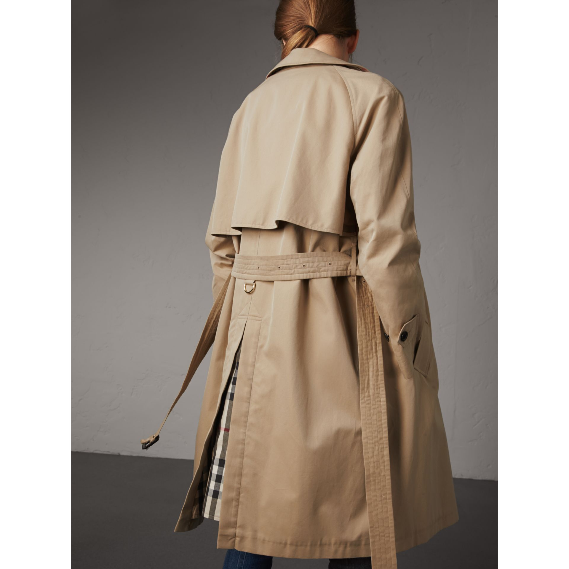 Resin Button Cotton Gabardine Trench Coat in Honey - Women | Burberry - gallery image 3