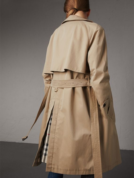 Resin Button Cotton Gabardine Trench Coat in Honey - Women | Burberry - cell image 2