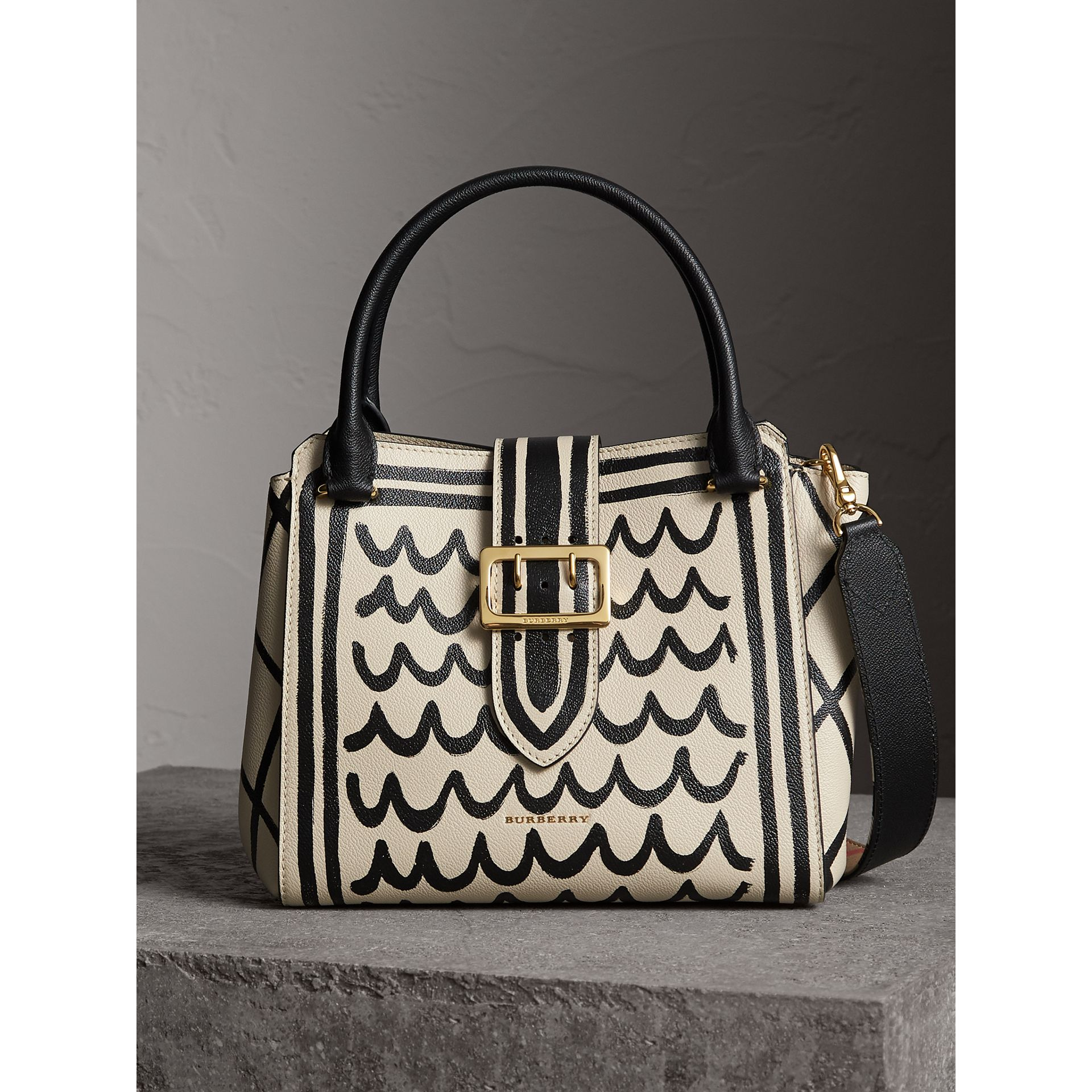 The Medium Buckle Tote in Trompe L'oeil Print Leather in Limestone - Women | Burberry - gallery image 1