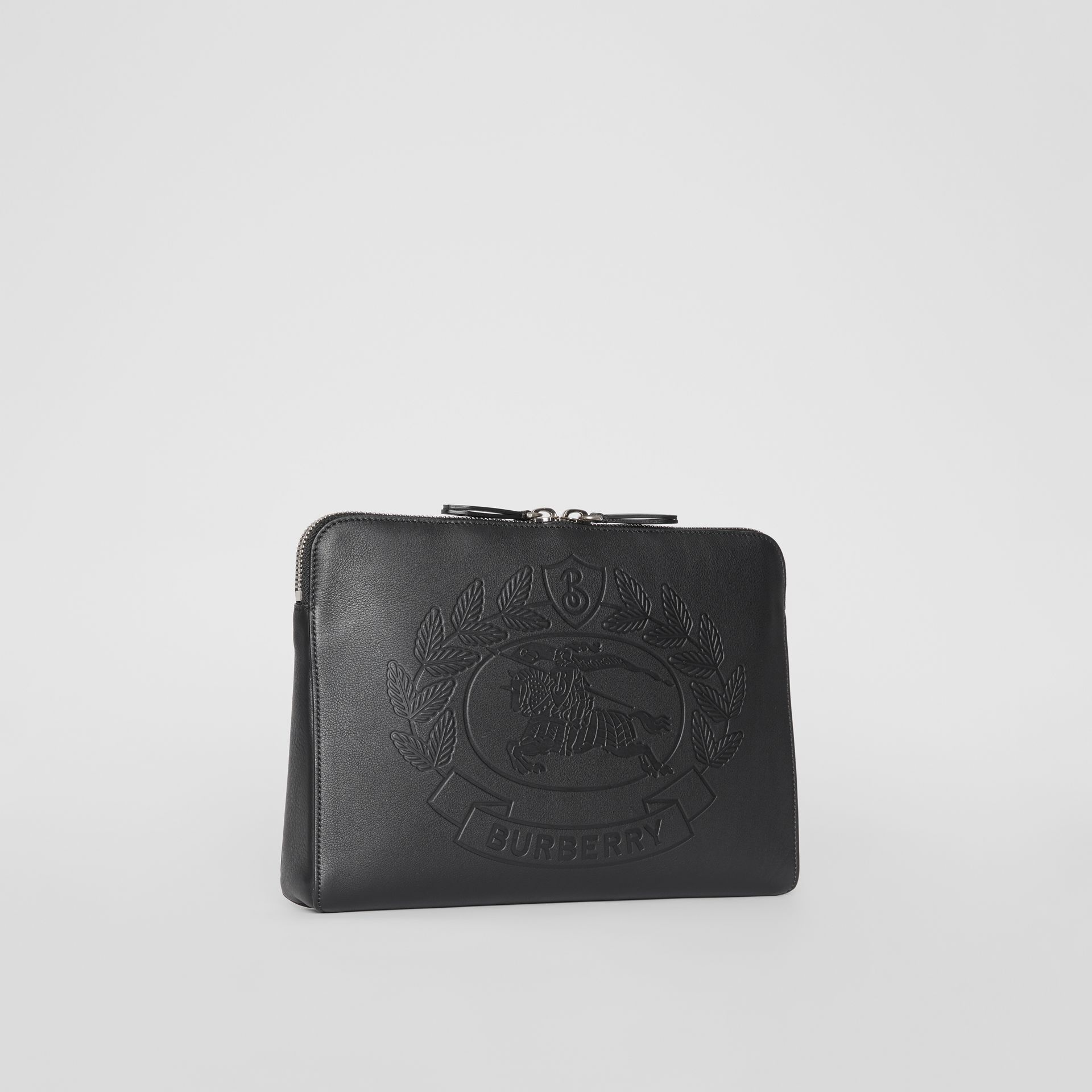 Embossed Crest Leather Document Case in Black - Men | Burberry - gallery image 8