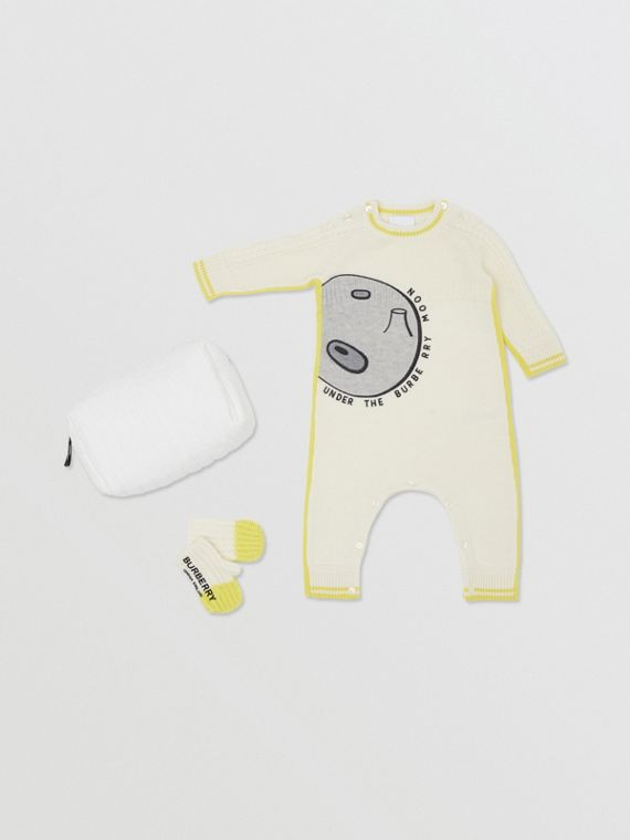 Moon Motif Wool Cashmere Two-piece Baby Gift Set in Ivory