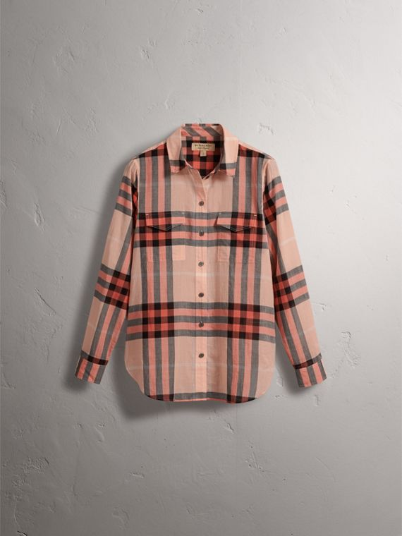 Check Cotton Shirt in Apricot - Women | Burberry Singapore - cell image 3