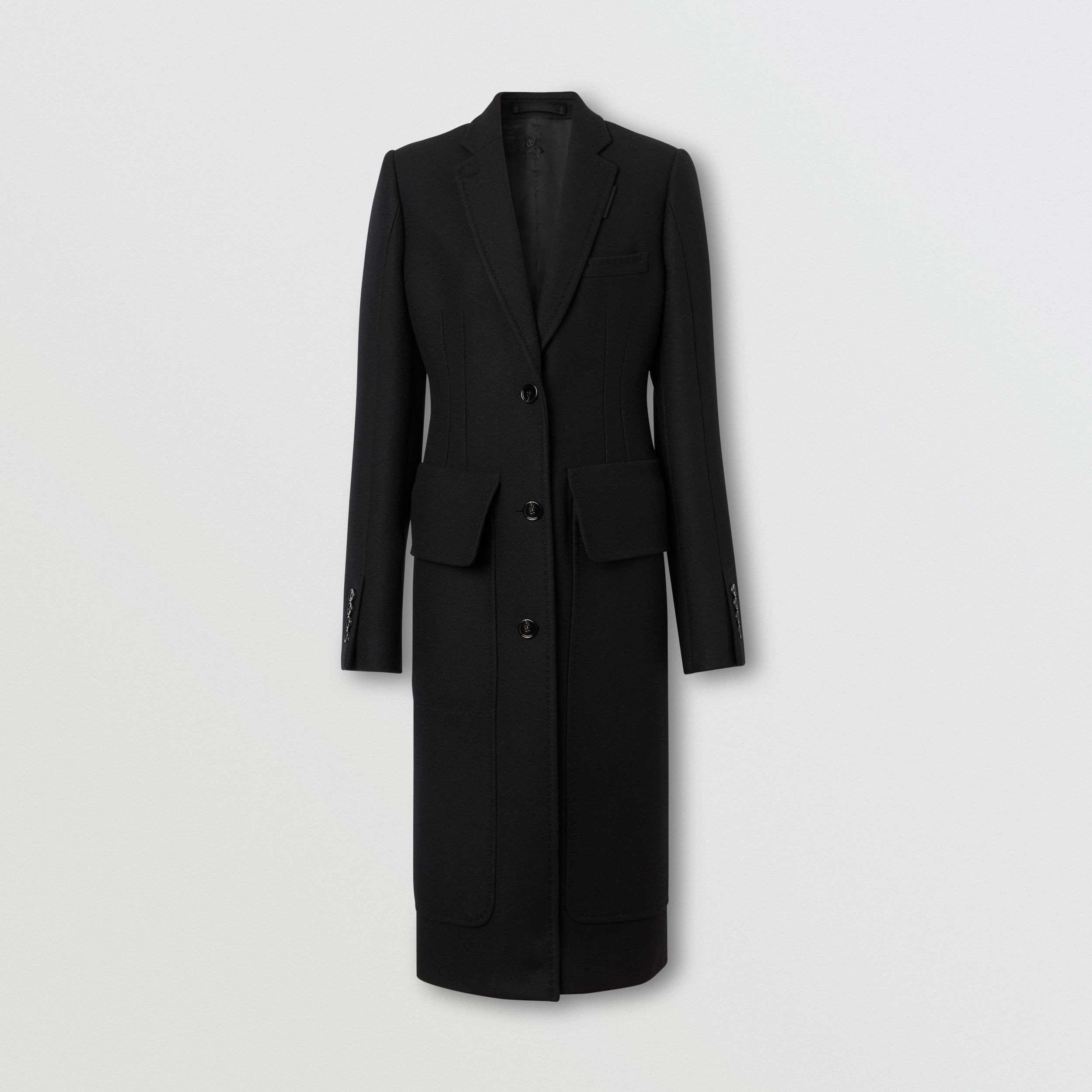 Camel Hair Wool Tailored Coat in Black - Women | Burberry - 4