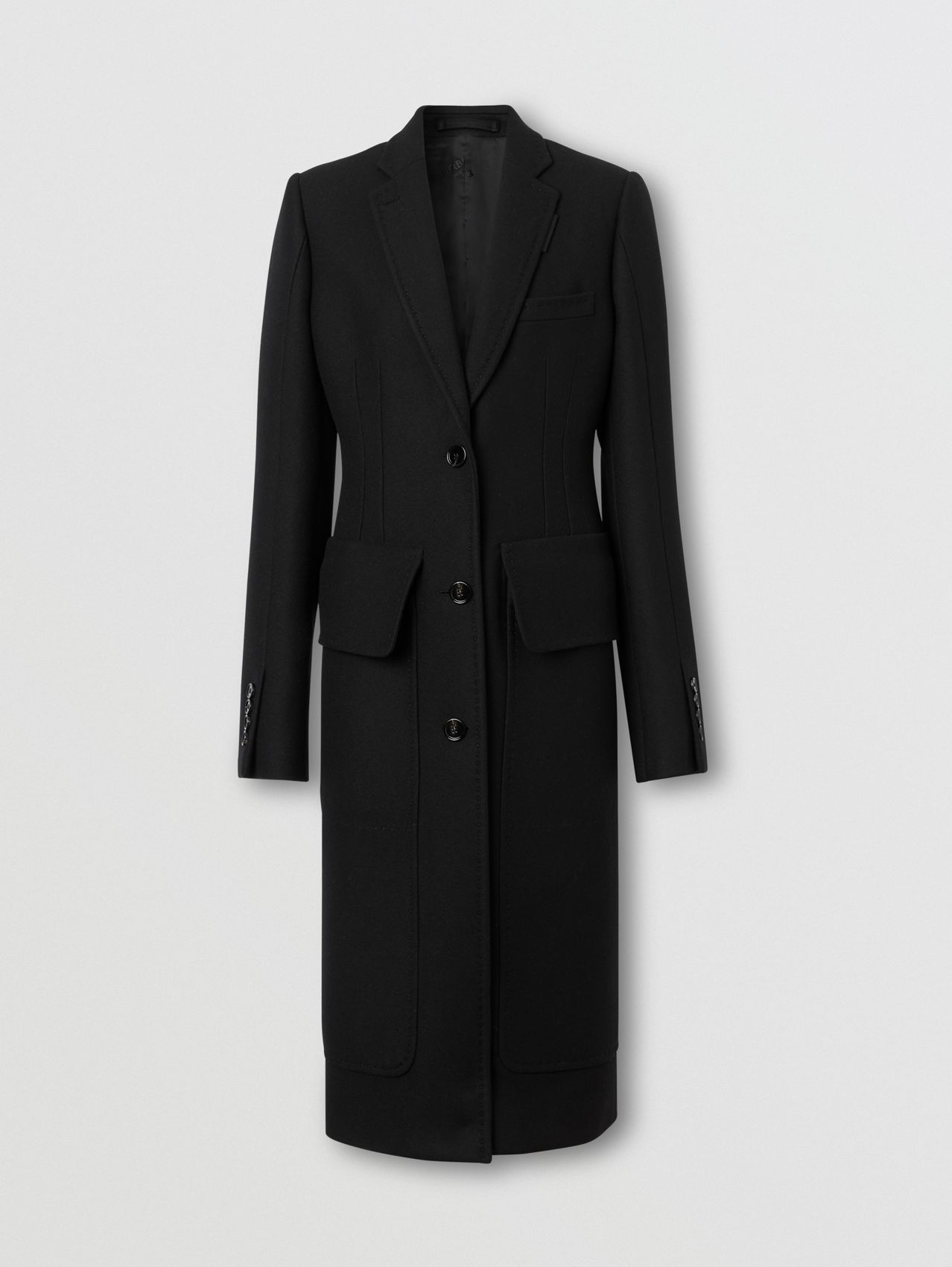 Camel Hair Wool Tailored Coat in Black