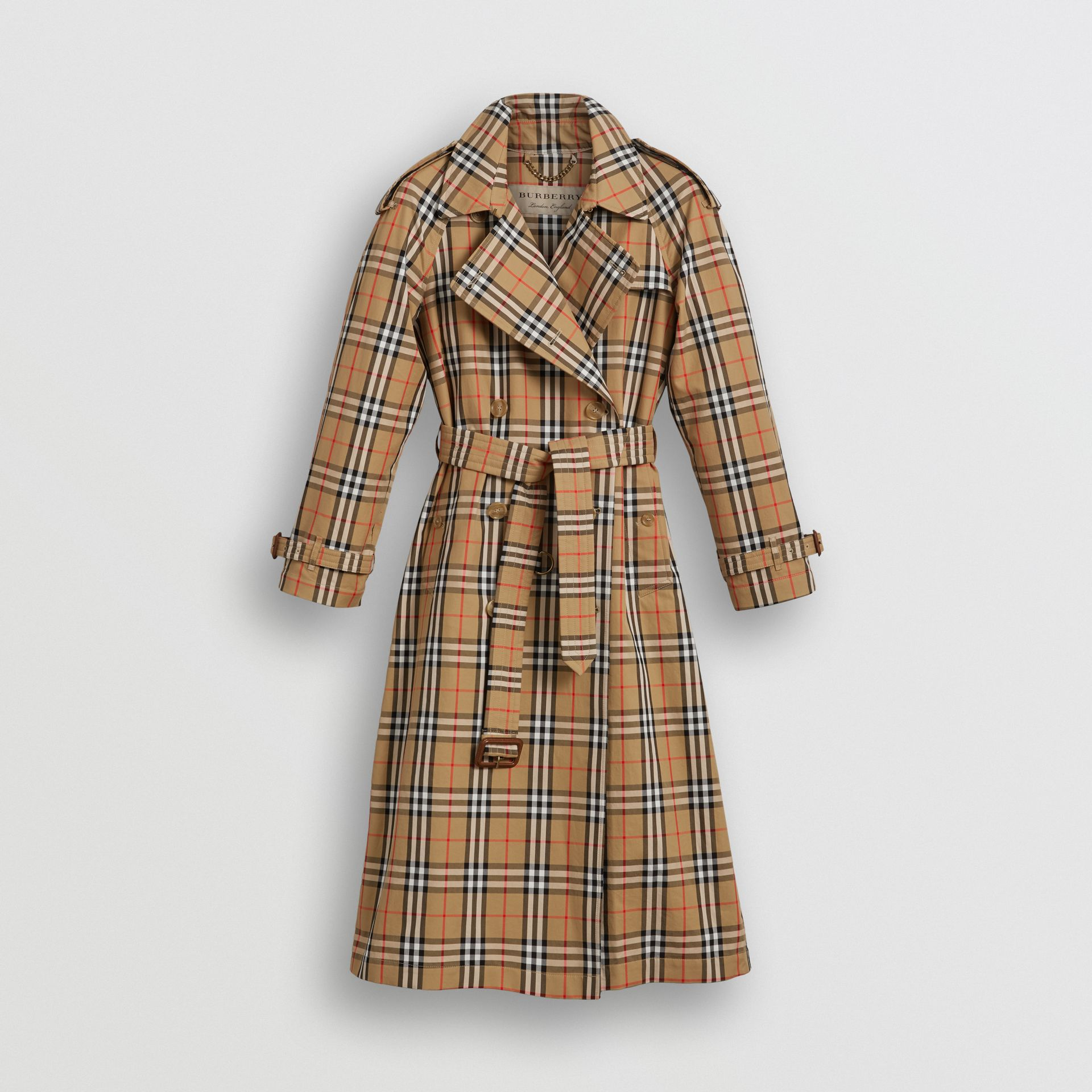 Vintage Check Cotton Trench Coat in Antique Yellow - Women | Burberry Singapore - gallery image 3