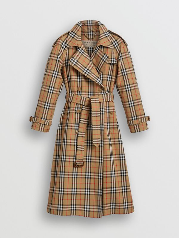 Trench coat in cotone laminato con motivo Vintage check (Giallo Antico) - Donna | Burberry - cell image 3