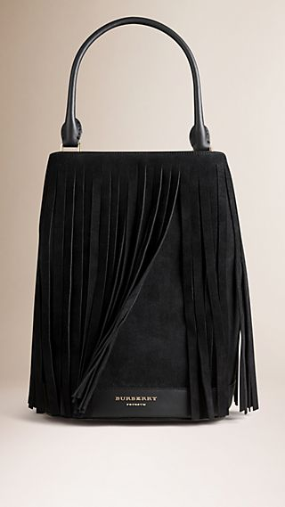 The Bucket Bag in Suede Fringing