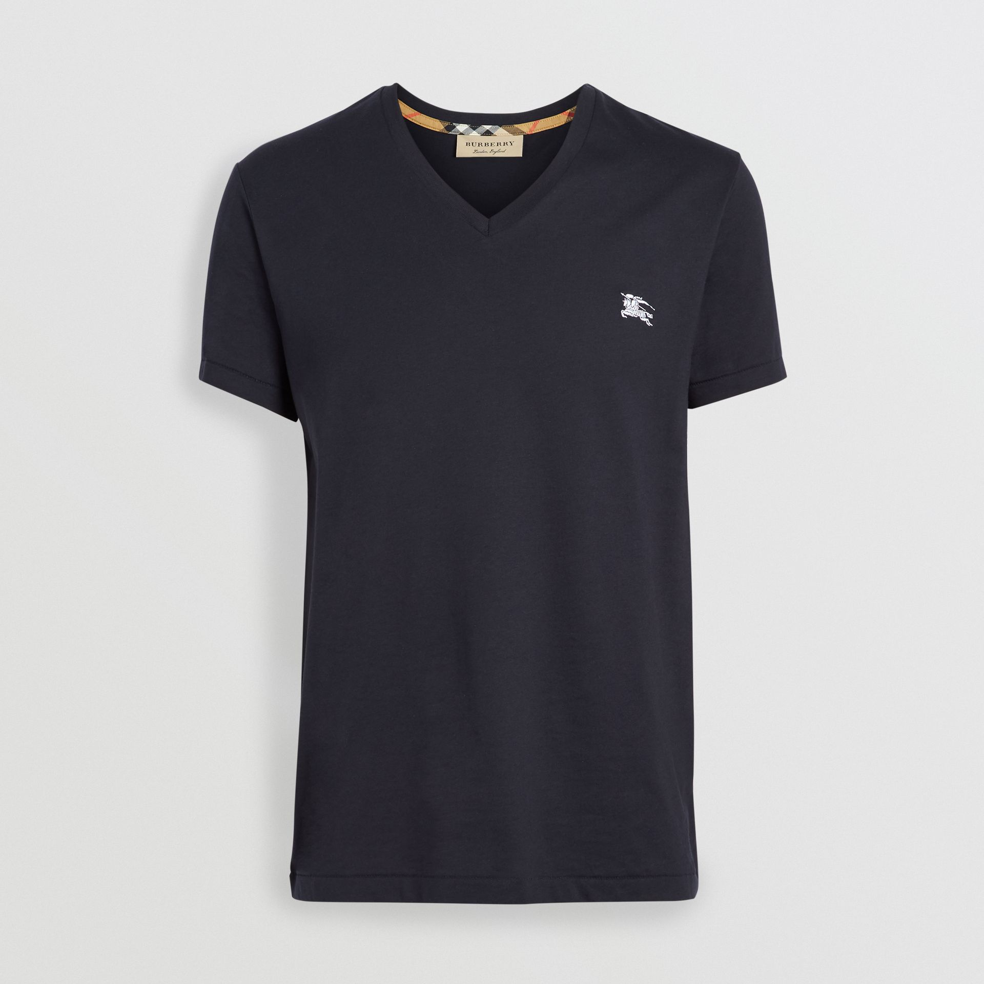 Cotton Jersey V-neck T-shirt in Navy - Men | Burberry Hong Kong - gallery image 3