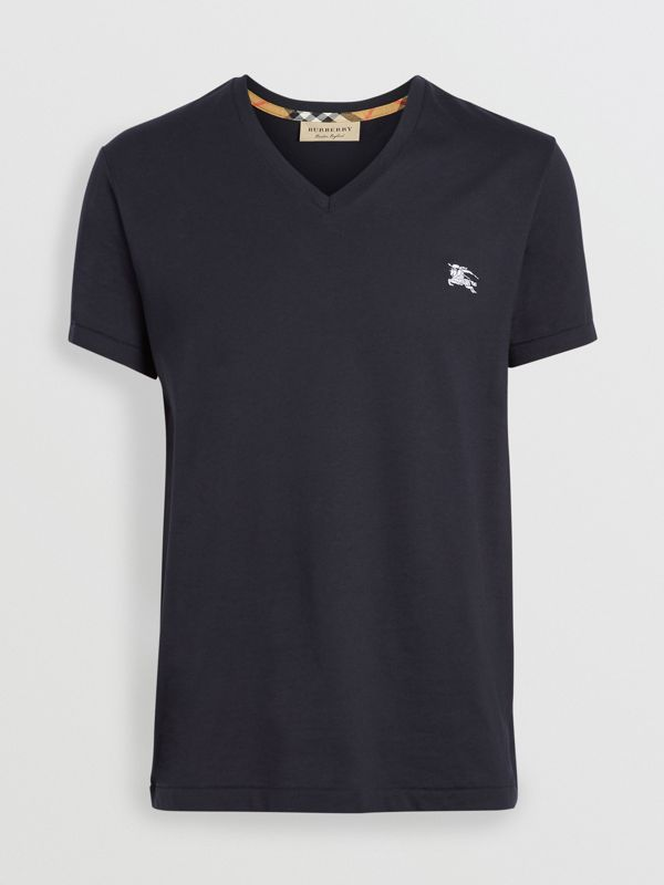 Cotton Jersey V-neck T-shirt in Navy - Men | Burberry - cell image 3