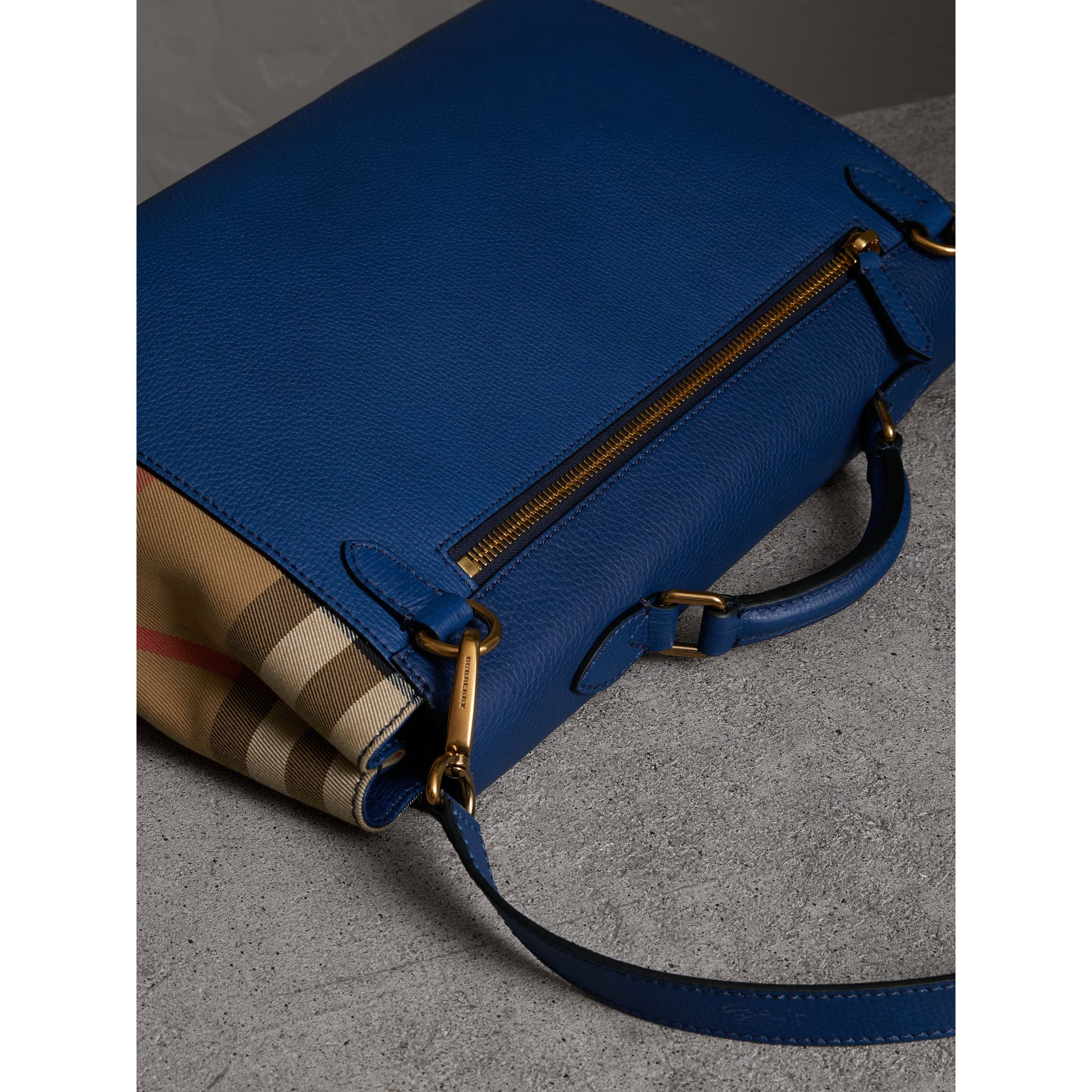 Leather and House Check Satchel in Deep Blue - Men | Burberry - gallery image 5