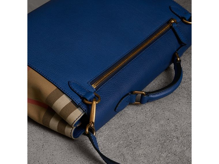 Leather and House Check Satchel in Deep Blue - Men | Burberry - cell image 4