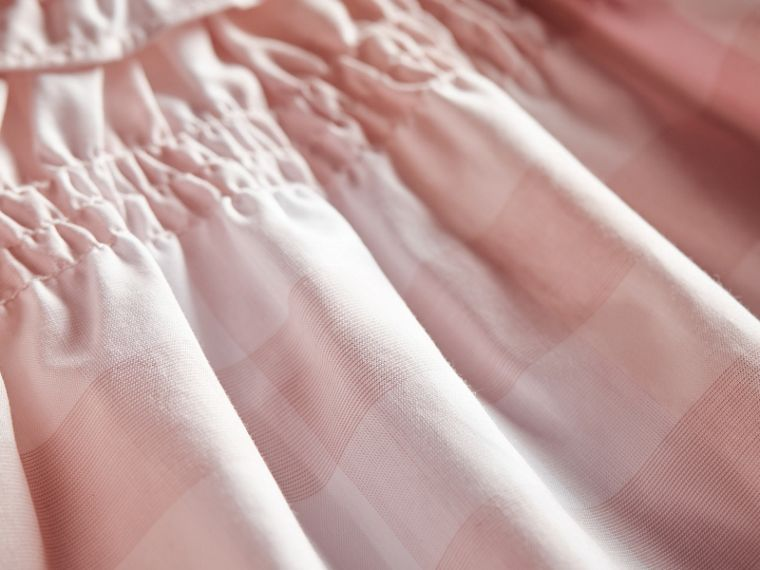 Ruffle Detail Check Cotton Dress and Bloomers in Ice Pink | Burberry - cell image 1