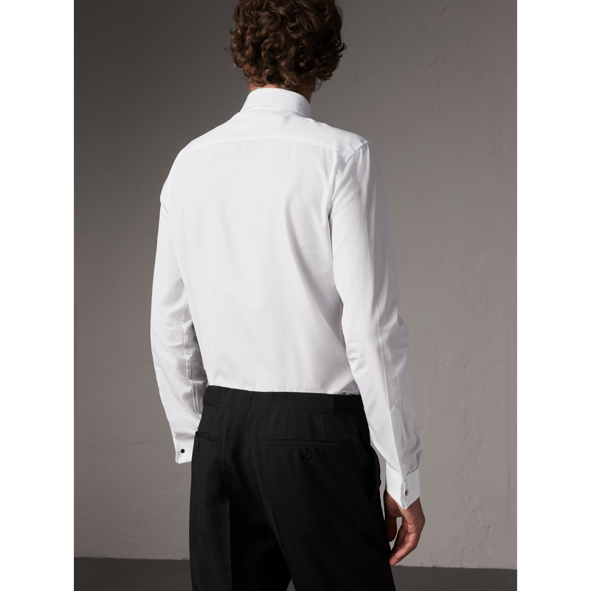 Slim Fit Cotton Poplin Dress Shirt in White - Men | Burberry - gallery image 2
