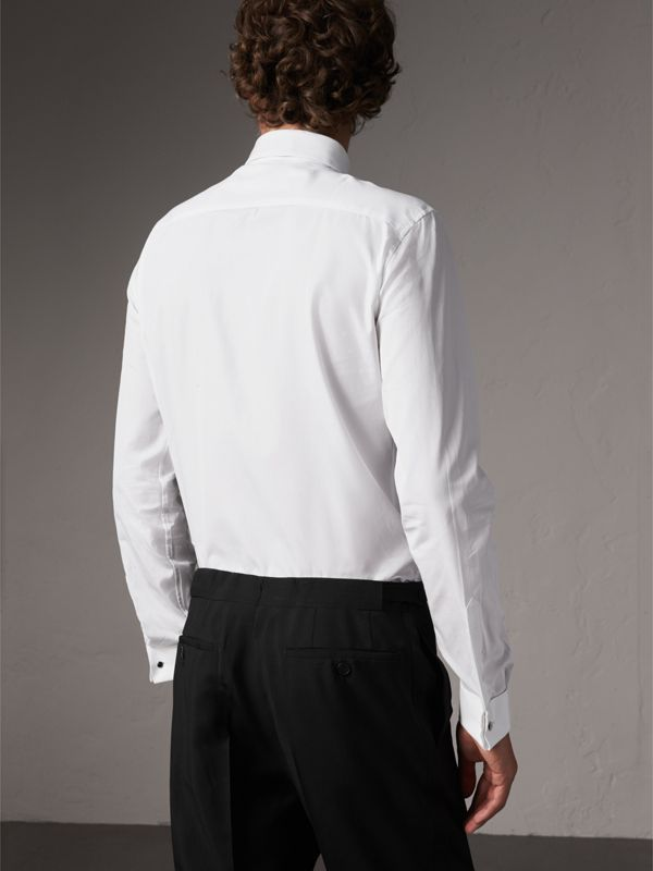 Slim Fit Cotton Poplin Dress Shirt in White - Men | Burberry Singapore - cell image 2