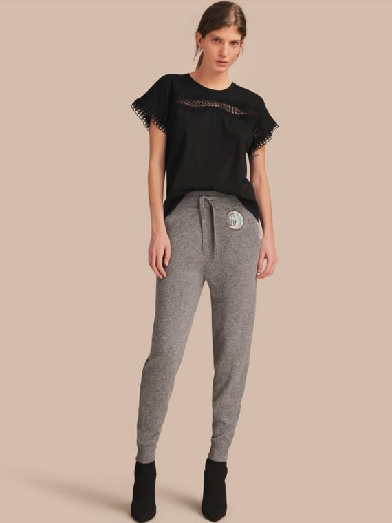 Pallas Heads Appliqué Wool Cashmere Knitted Trousers