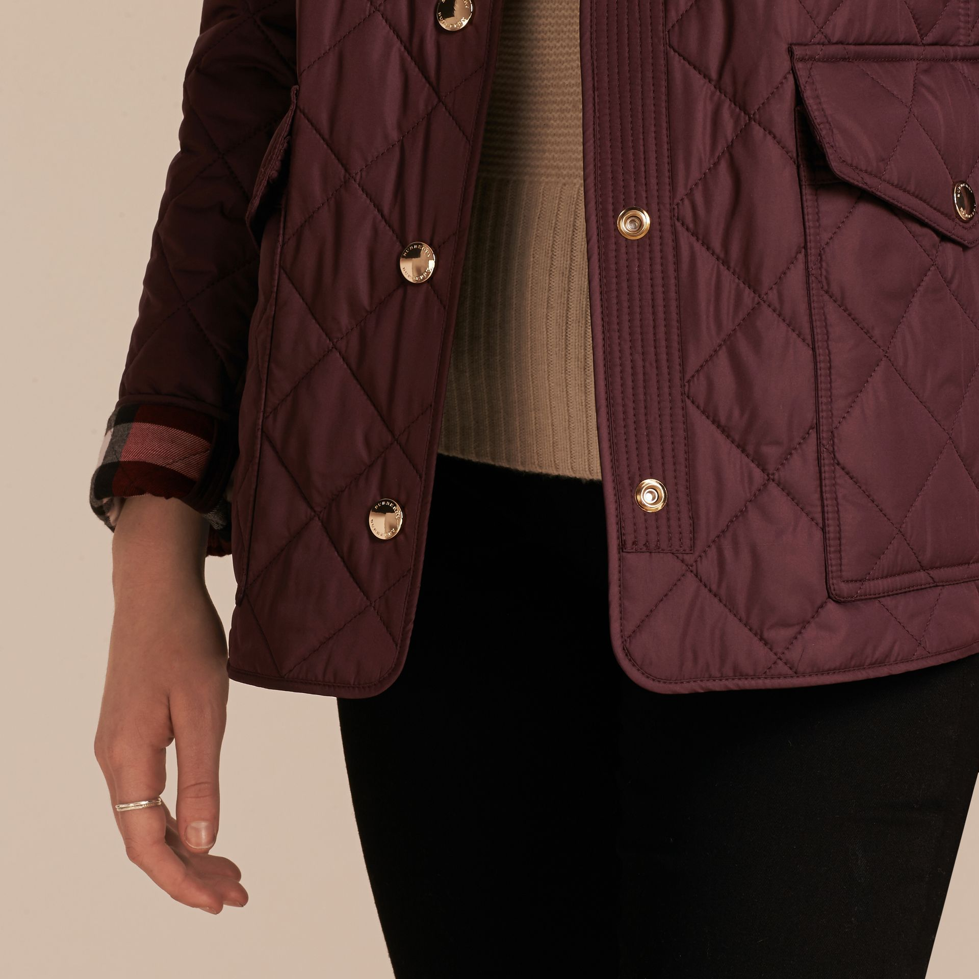 Burgundy Check Detail Diamond Quilted Jacket Burgundy - gallery image 5