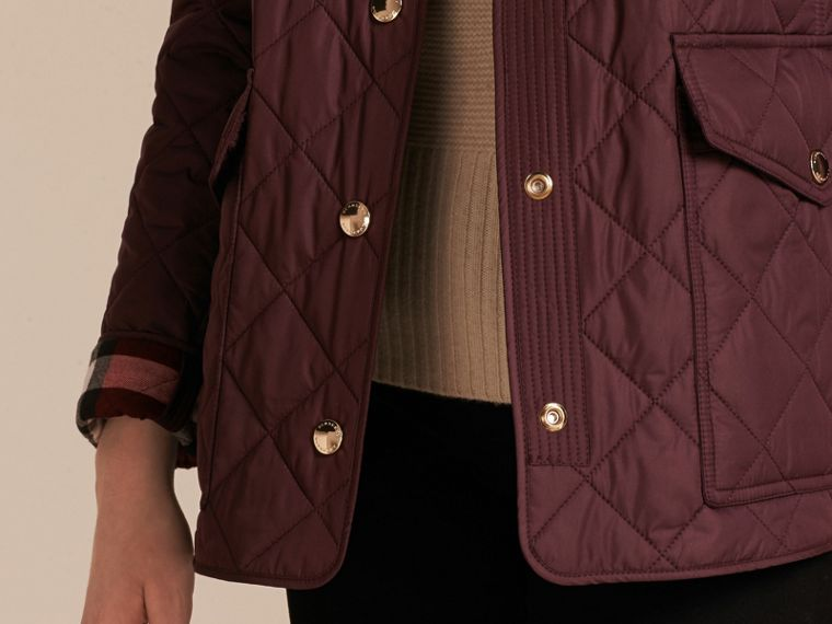 Burgundy Check Lined Diamond Quilted Jacket Burgundy - cell image 4