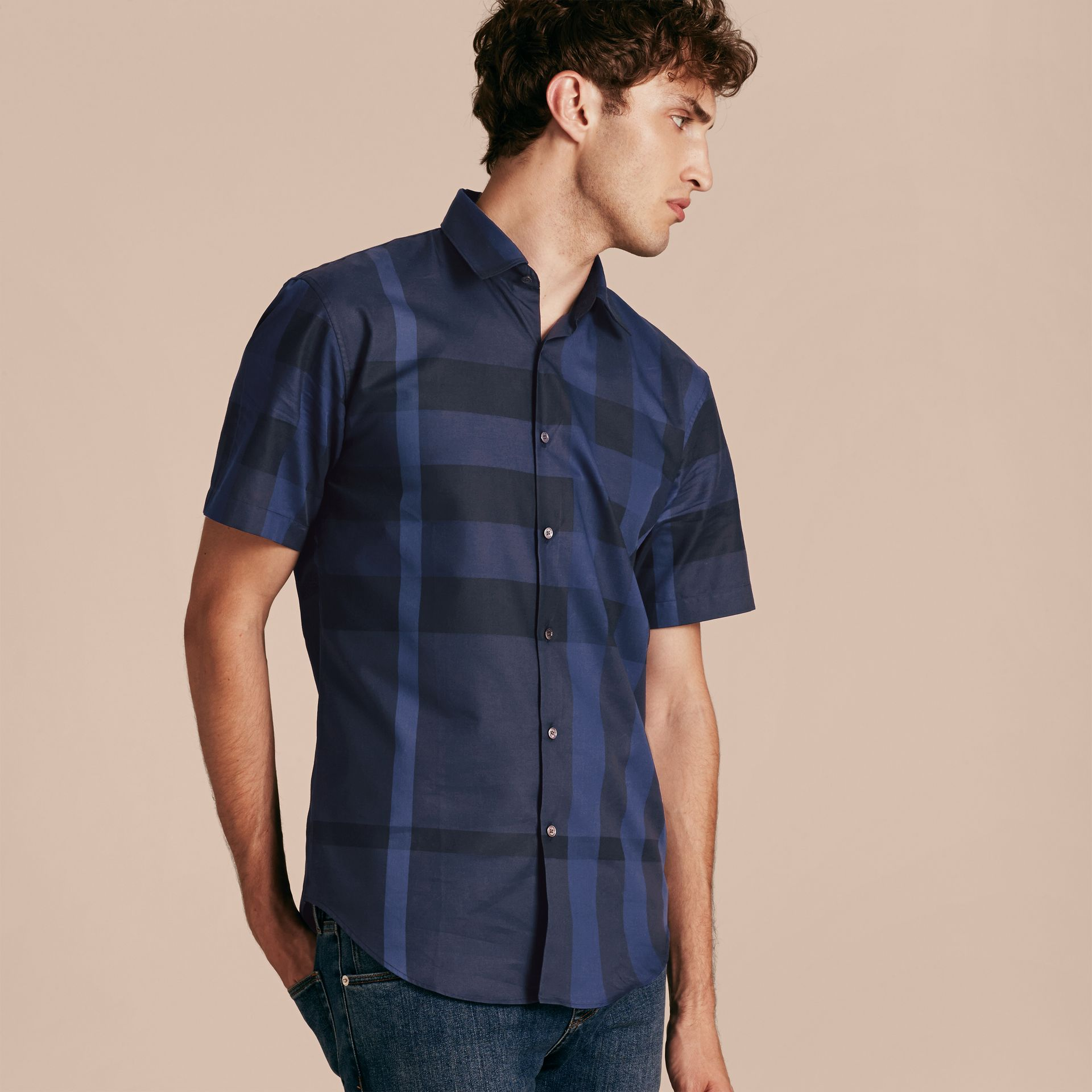 Navy Short-sleeved Check Cotton Shirt Navy - gallery image 6
