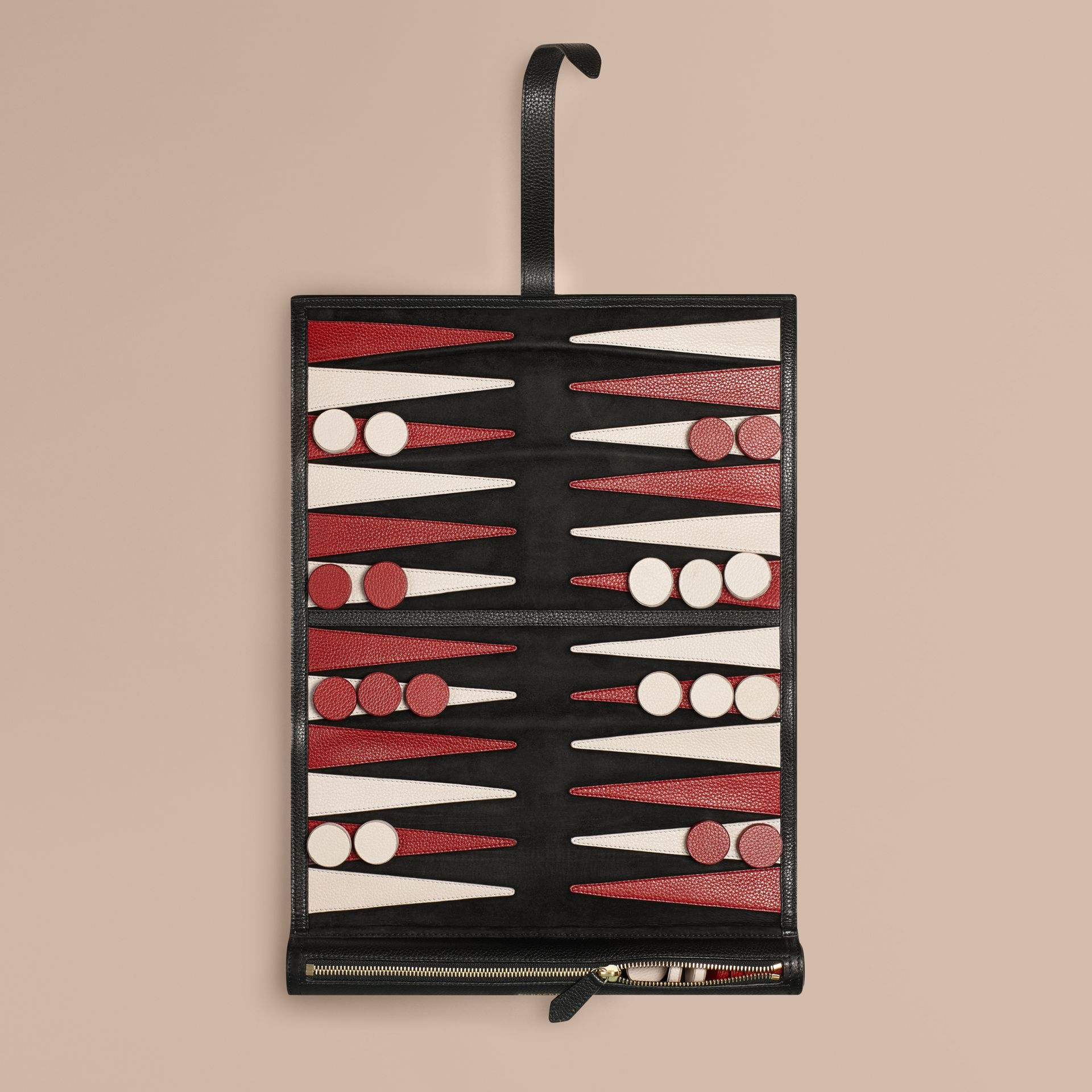 Leather Travel Backgammon Set in Black - gallery image 1