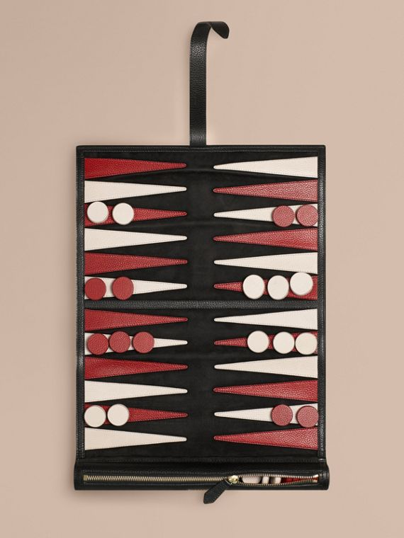 Set backgammon da viaggio in pelle Nero