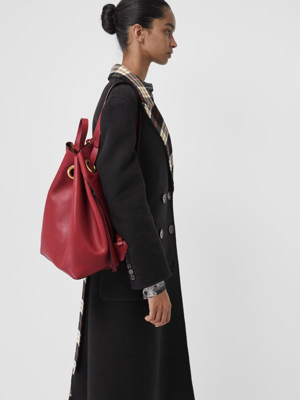 The Leather Grommet Detail Backpack in Crimson - Women | Burberry United States - cell image 2