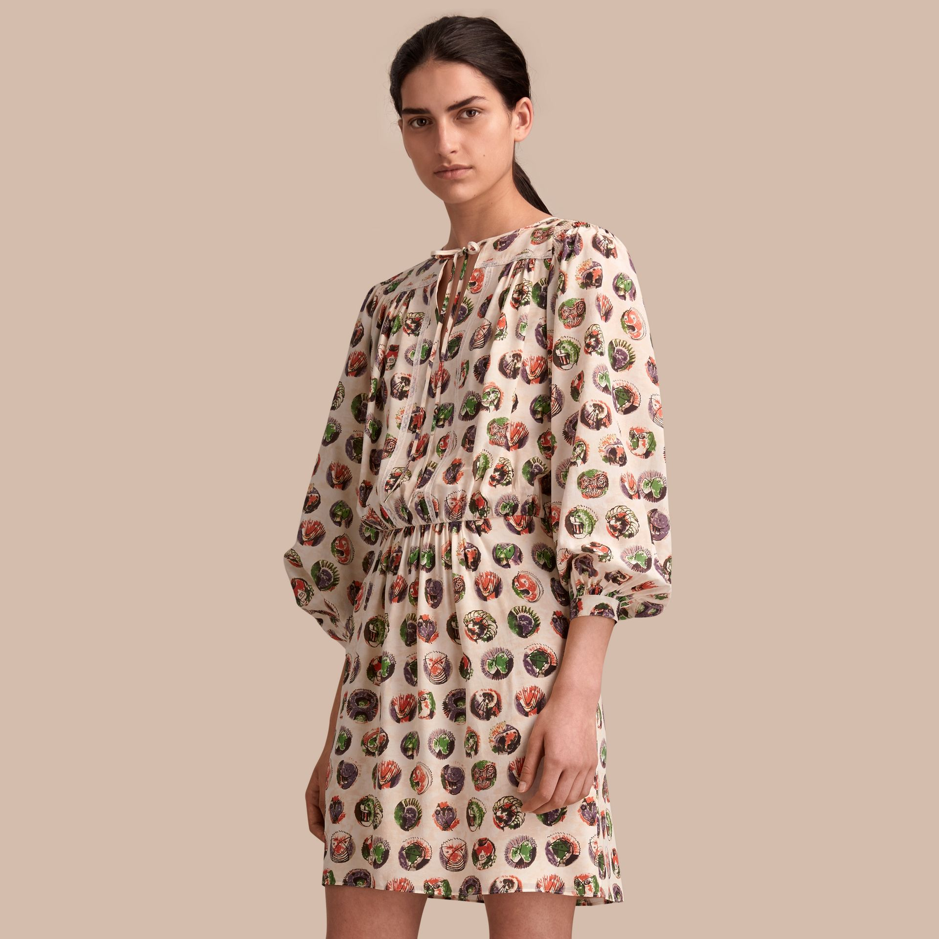 Pallas Heads Print Silk Dress with Neck Tie - gallery image 1