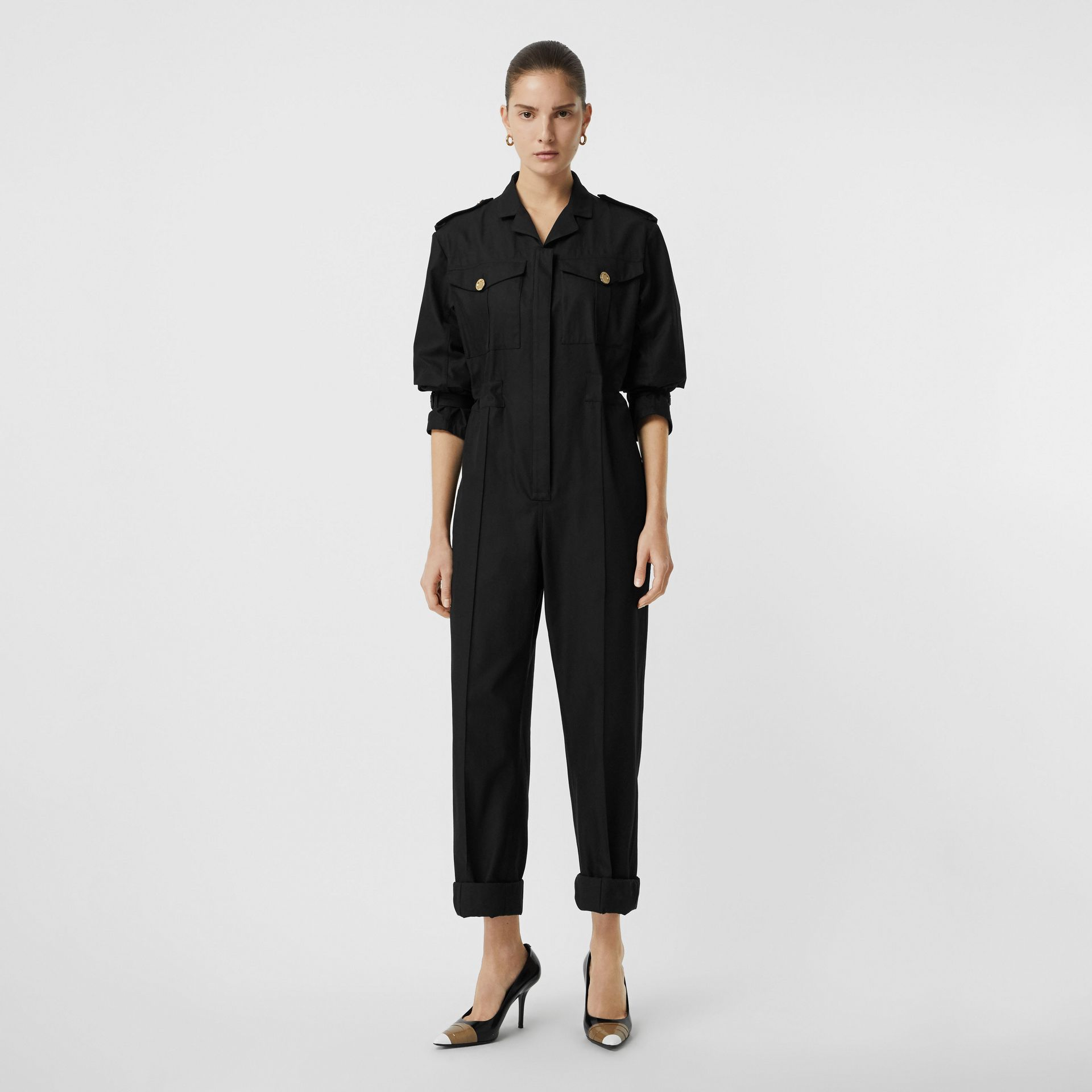 Cotton Gabardine Jumpsuit in Black - Women | Burberry United Kingdom - gallery image 0