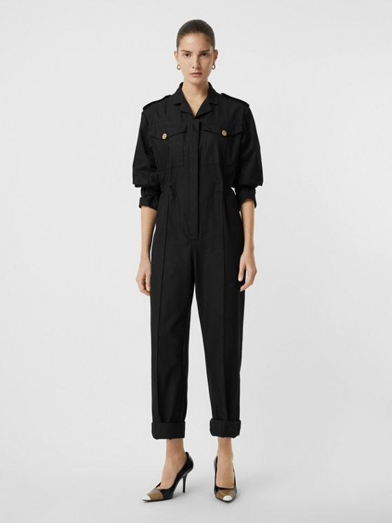 Cotton Gabardine Jumpsuit in Black