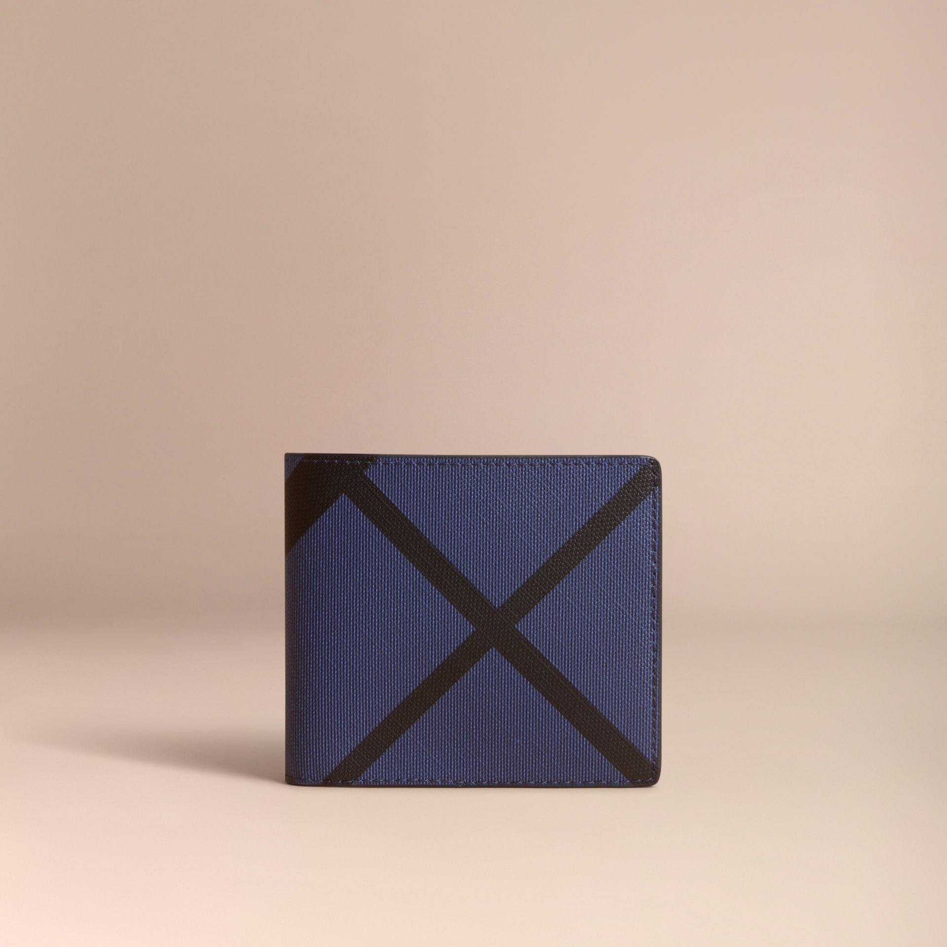 London Check Bifold Wallet with Coin Compartment in Bright Lapis - Men | Burberry - gallery image 6