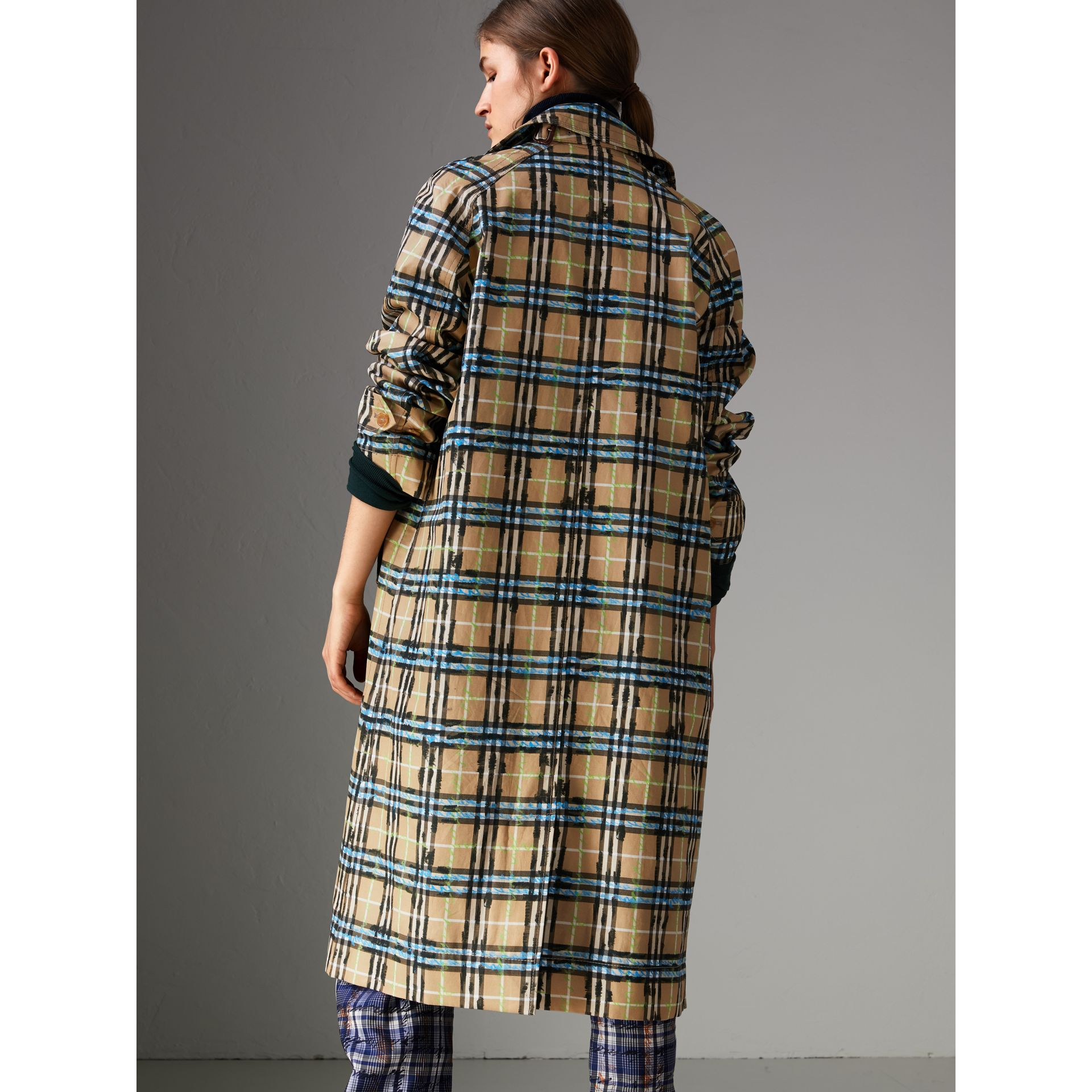Scribble Check Cotton Gabardine Car Coat in Bright Blue - Women | Burberry Canada - gallery image 2