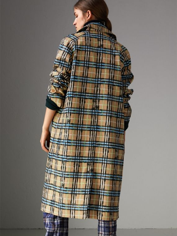 Scribble Check Cotton Gabardine Car Coat in Bright Blue - Women | Burberry - cell image 2