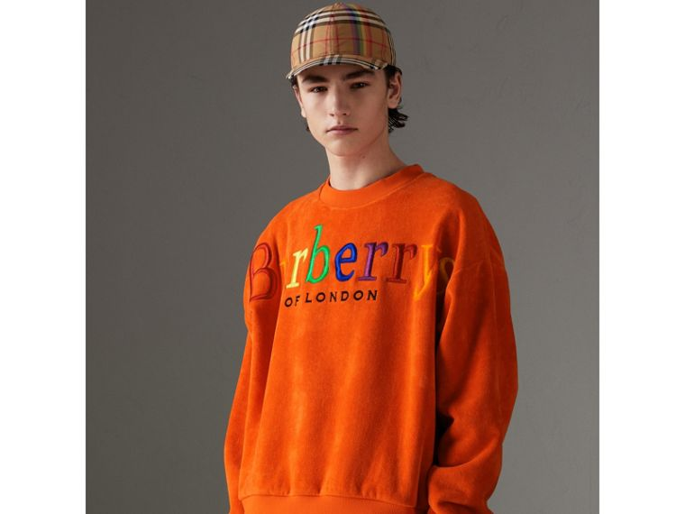 Archive Logo Towelling Sweatshirt in Tangerine | Burberry - cell image 4