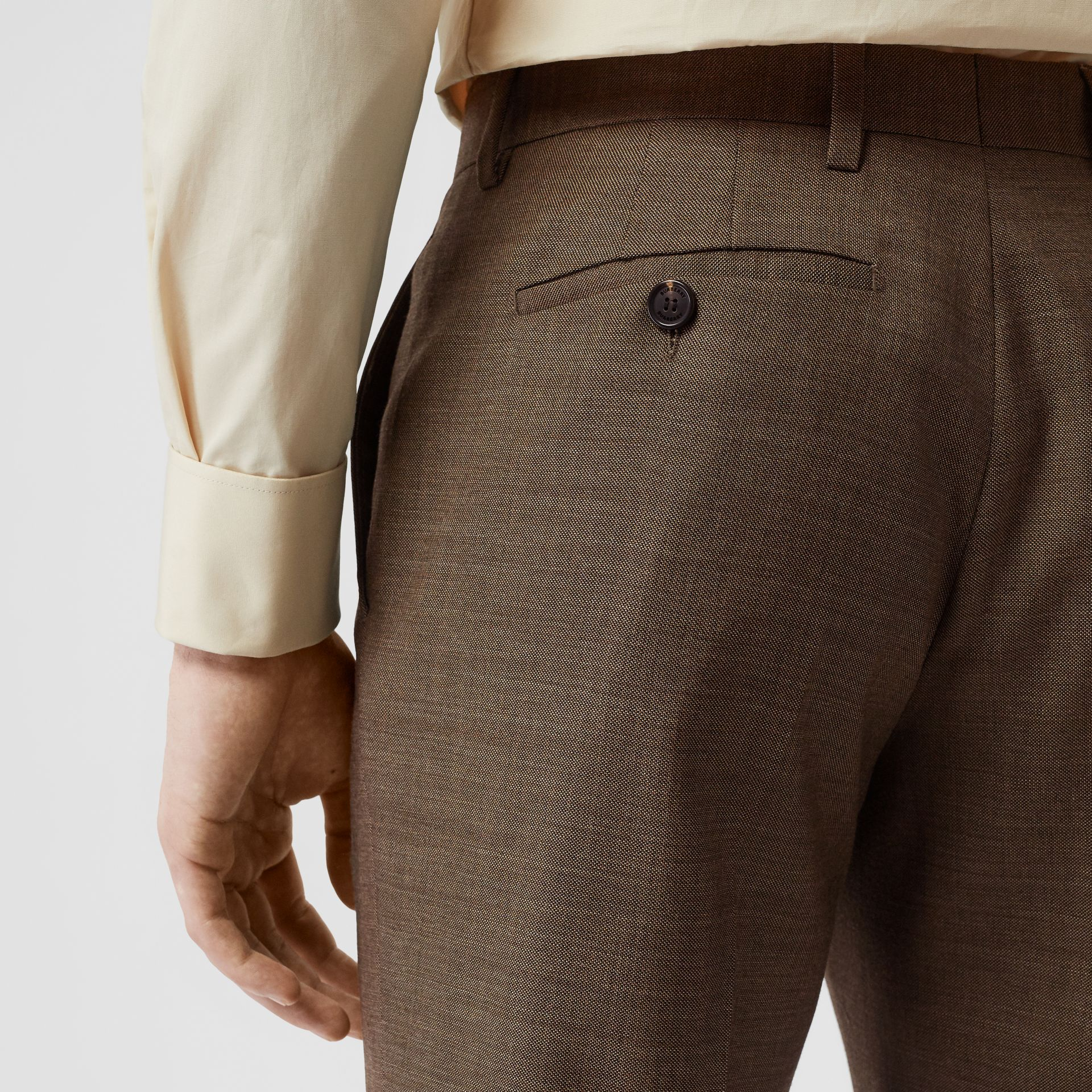 Sharkskin Wool Tailored Trousers in Deep Brown - Men | Burberry - gallery image 6