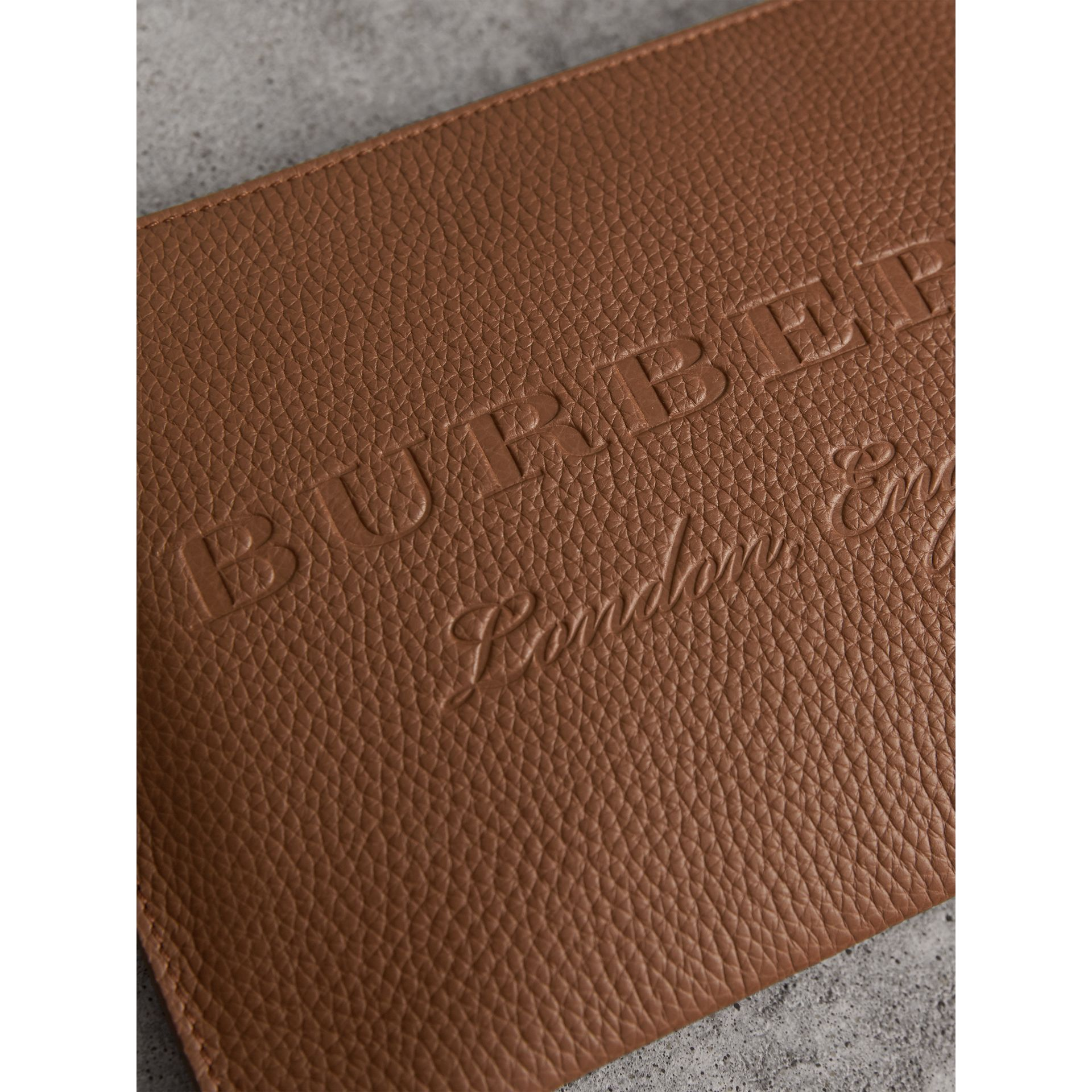 Embossed Leather Clutch Bag in Chestnut Brown - Women | Burberry Singapore - gallery image 1