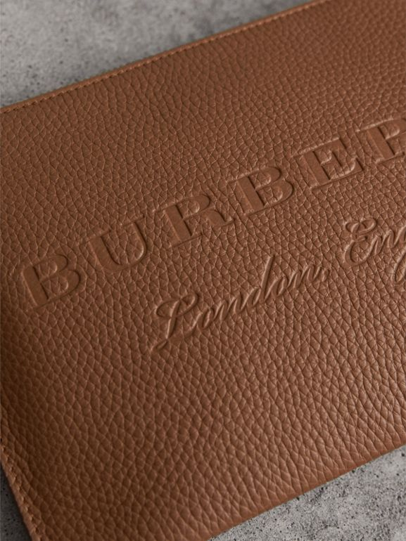 Embossed Leather Clutch Bag in Chestnut Brown - Women | Burberry - cell image 1