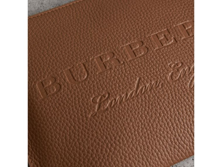 Embossed Leather Clutch Bag in Chestnut Brown - Women | Burberry Singapore - cell image 1