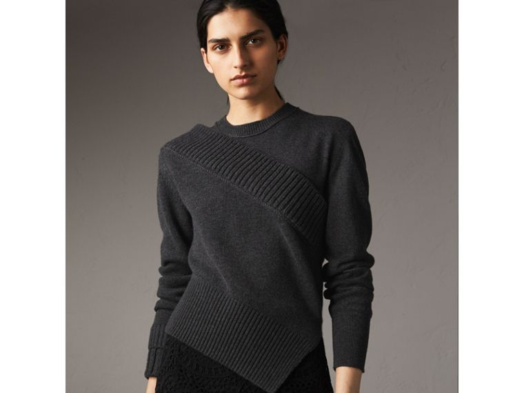 Rib Knit Detail Cashmere Asymmetric Sweater in Charcoal - Women | Burberry - cell image 4
