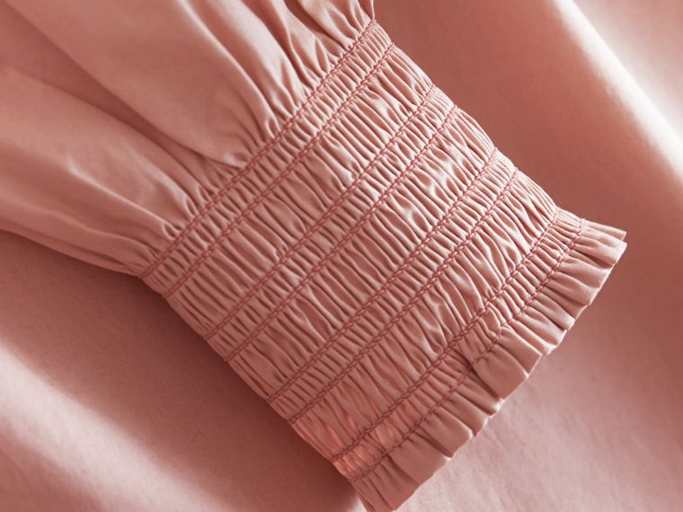 Smocked Cuff Stretch Cotton Dress - cell image 1
